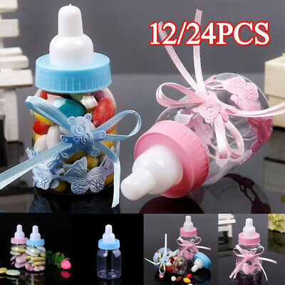 12/24X Fillable Bottles Candy Box Baby Shower Baptism Party Christening Favour