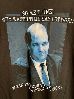 88d46800 NWT L The Office Kevin Malone Small Talk Few Word T-shirt TV Show Humor