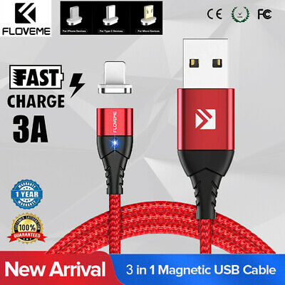 FLOVEME 3.0A Fast Charging USB-C Type-C Magnet Charger Phone Cable 1M