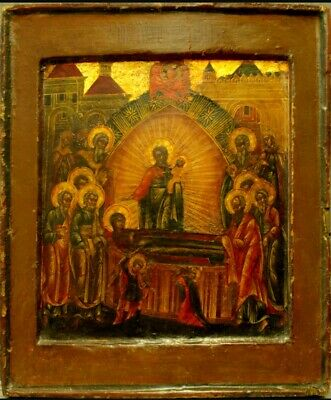 Antique 19C Russian Hand Painted Icon Of Dormition Of Mother Of God