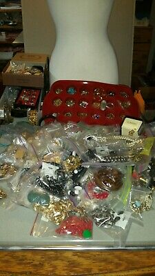 NICE COSTUME JEWELRY LOT. VINTAGE- NOW. SMALL FLAT RATE BOX- lbs. STERLING CHARM