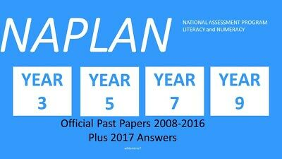 NAPLAN Past Papers Year 3, 5, 7, or 9 2008 to 2016 with answers + 2017 answers