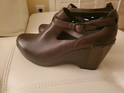 de58a7639c NEW Dansko Franka Black Leather High Heel Bootie Wedge Shoes 40 9-9.5