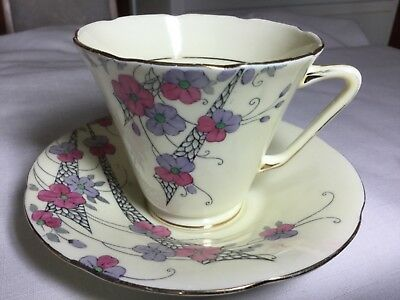 Grafton Bone China  Cup And Saucer England     Rayon Pattern