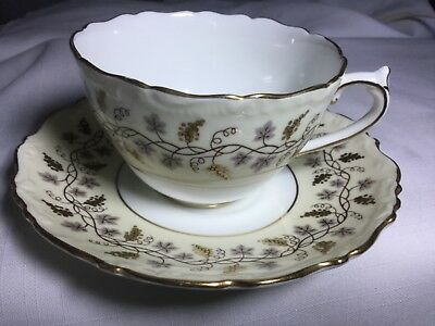Coalport  Bone China  Cup And Saucer England       Yellow Minerva Pattern