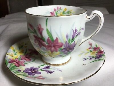 Royal Standard Bone China  Cup And Saucer England     Garden Glory Pattern