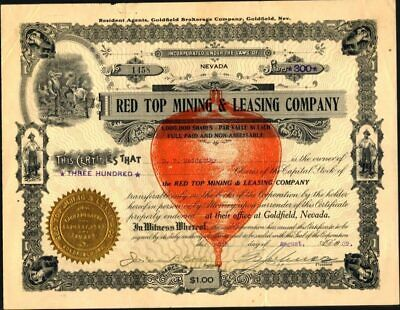 Red Top Mining & Leasing Co Of Goldfield, Nev., 1909, Uncancelled, Crisp Stock C