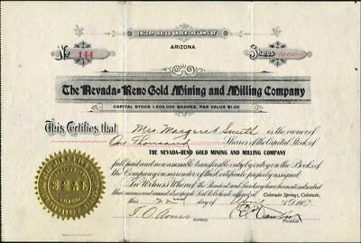 Nevada - Reno Gold Mining And Miling Co, Goldfield, Nv, 1907, Uncancelled Stock