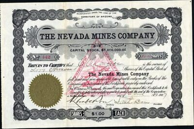 Nevada Mines Co, Territory Of Arizona, 1907, Uncancelled Stock Certificate