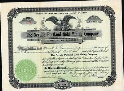 Nevada Portland Gold Mining Co, 1907, Goldfield, Nv, 1907, Uncancelled Stock Cft