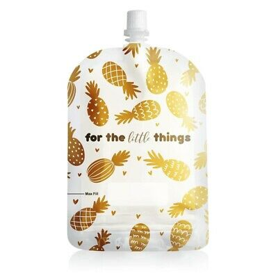 SINCHIES 150ml 10pack GOLD PINEAPPLE Reusable Pouches Baby Food Storage