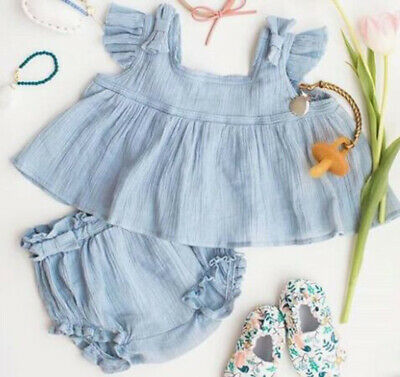 Toddler Baby Girls Kids Summer Clothes Ruffle Tops T-shirt +Shorts 2PCS Outfits