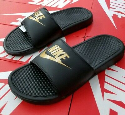 hot sale online 6dcea 4f054 Nike Benassi Jdi Slide Sandals Mens Black   Metallic Gold 343880 016
