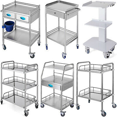 Stainless Steel Portable Dental Lab Medical Cart Trolley W/ Drawer Moveable