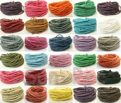 Colored Coated Twine 2mm Waxed HEMP Cord 5-50m Jewelry Leather Crafts DIY