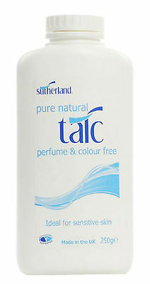 6x Sutherland Pure Natural Talc 250g  - Fragrance Free 100% Pure Talcum Powder