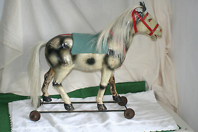 Antique French pull along toy horse Circa C18th