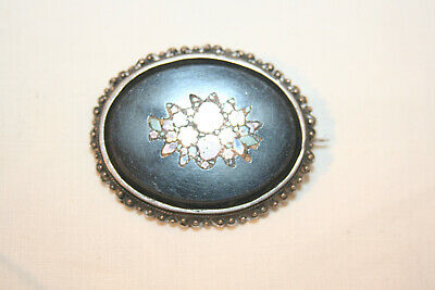 Vintage Large micro mosaic brooch set into 925 silver mount.