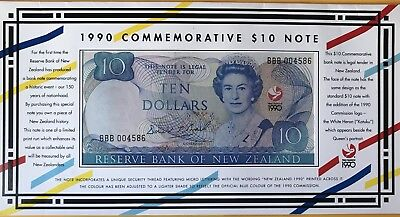 New Zealand 1990 Commemorative $10 Banknote. BBB Uncirculated In Folder.