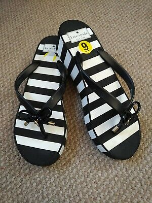 21144e1865c8 New Kate Spade Women Size 9 Flip Flops Wedge Remmie Black White Stripe Charm