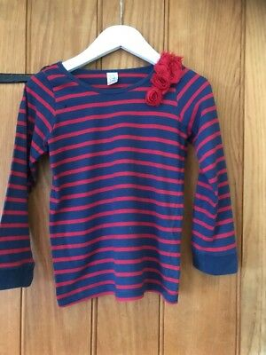 Store Twenty One Lovely Girls Red & Navy Striped Girls Top Age 7yrs 100% Cotton