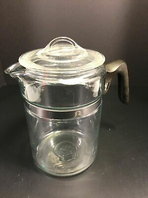 Pyrex Flameware Vintage Percolator Coffee Pot 6 Cup Stovetop Model 7826B US Made