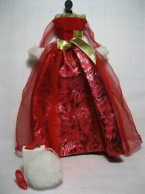 1998 Evening Wear BARBIE Doll FASHION AVENUE RED/GOLD PARTY DRESS long Gown Heel