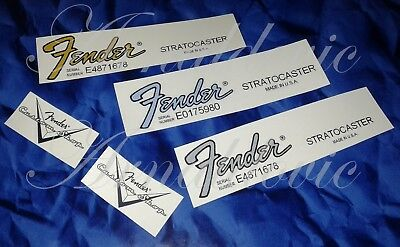 2 x Decalcomania Decal Fender Stratocaster Chitarra Guitar Gold\Grey anni 80