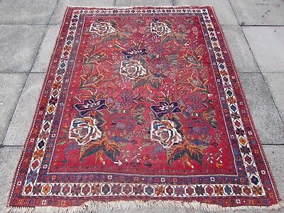Antique Shabby Chic Old Hand Made Persian Oriental Wool Red Rug 183x148cm