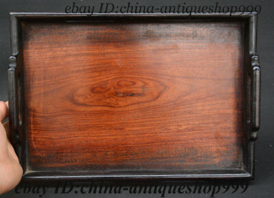 Old Chinese Huanghuali Wood Hand-Carved Tea Tray Pallet Waiter Tea-Things Statue
