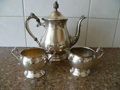 An Ornate,Vintage, Three Piece Silver Plated Tea Set, Silver Plated Coffee Set