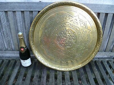 An Antique, Islamic / Arabic Etched Brass Charger. 'Rub El Hizb' Brass Charger