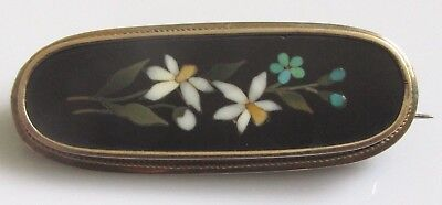 Victorian 9ct Yellow Gold Pietra Dura Oval Oblong Flower Brooch