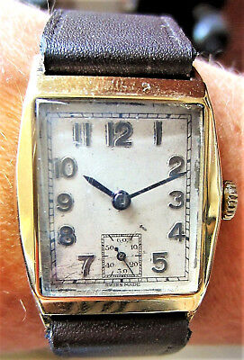 Gents 1938 9ct Gold Mechanical 15J Curvex Watch With Sub Dial AS 984 Serviced