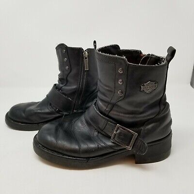 c51f8c31c5cbf8 Harley Davidson Womens Ankle Boots Size 8.5 Black Leather Side Zip Buckle  Cycle