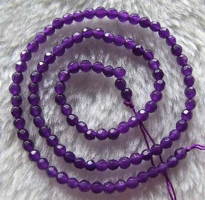 """Natural 4mm Faceted Russican Amethyst Gemstone Round Loose Beads Strand 15"""""""