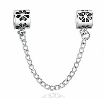 Silver Flower Safety Chain For Charm Bracelet, Free UK P&P