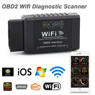 ELM327 WIFI OBD2 OBDII Auto Car Diagnostic Scan Tool Scanner for  IOS Android