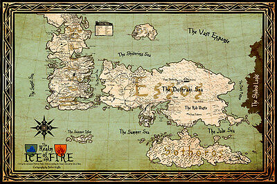Game of Thrones Poster printing 40x60cm ice and fire Westeros MAP