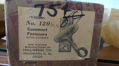 Casement window fasteners - black iron Hall-Wessel latches NOS Box of 10