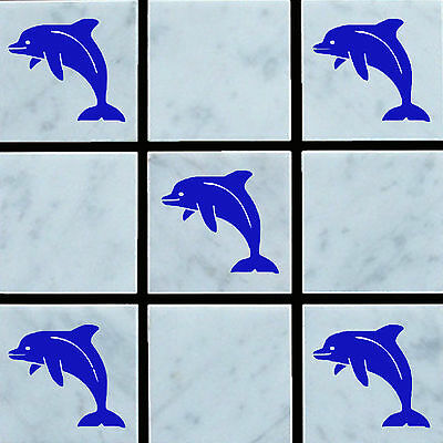 10  Dolphin Vinyl Wall Tile Stickers Decal Transfers For Bathroom/Kitchen Tiles