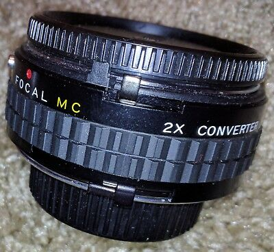 Vintage Minolta Focal MC 2X Converter Lens w/Case & Caps 20-06-76 Mount Camera