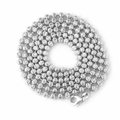 """28/"""" 925 STERLING SILVER MOON CUT CHAIN NECKLACE 2mm 9g R206"""