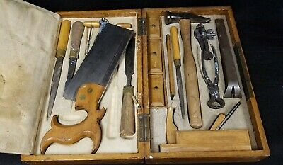 Antique Tool Kit in Original Fitted Box German English Tools for Specific Trade