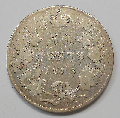1898 Fifty Cents VG ** Very Nice SCARCE Date Queen Victoria KEY Early Canada 50¢