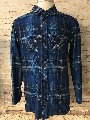 58cf16748 NIKE 6.0 BLUE Plaid Flannel Shirt Coat Jacket Quilted Lining Boys XL ...