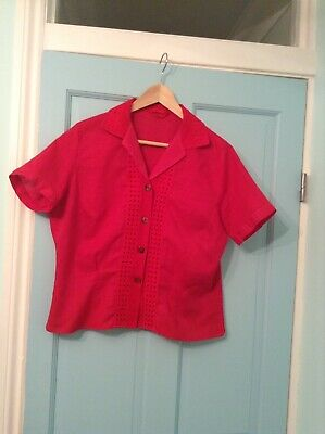 True Vintage Broderie Anglaise Red Shirt 1940s 1950s