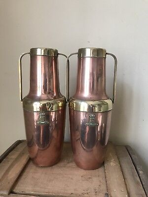 Pair Of Early 20thC Arts & Craft Art Nouveau Style Copper Brass Lisieux Vases
