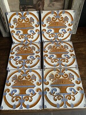 Six Maw & Co 19th Century Art Nouveau Tiles Made By Florets Maw, Salopia