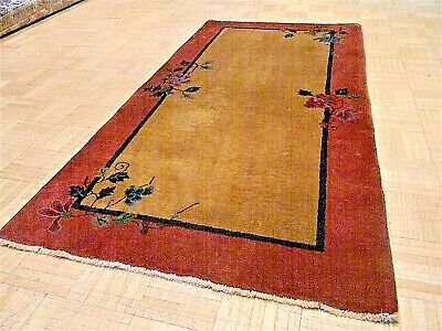3x6 CHINESE RUG VINTAGE ART DECO AUTHENTIC HAND-MADE ORIENTAL RUG 1920s